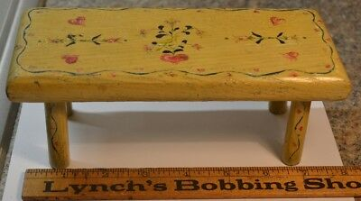 foot stool cricket small painted birds flowers doll child 8 in. antique 1800