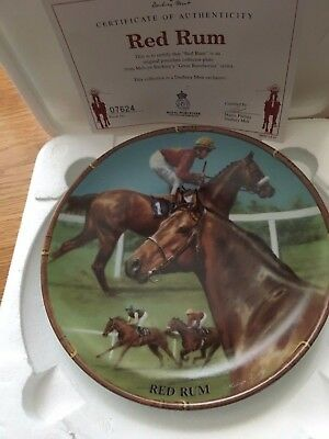 Red Rum Famous Racehorse Plate Danbury Mint Royal Worcester With Certificate