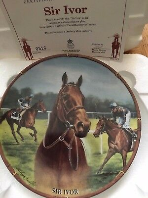 Sir Ivor Famous Racehorse Plate Danbury Mint Royal Worcester With Certificate