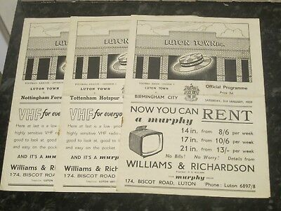 3 x Luton Town Div 1 Home Programmes - Dated 1959