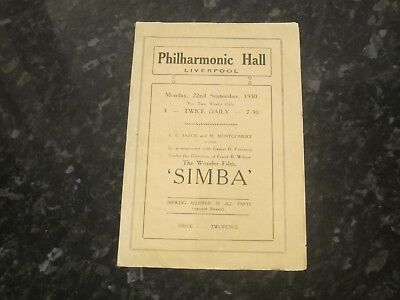 Simba Film Programme @ Philharmonic Hall, Liverpool - Dated 1930