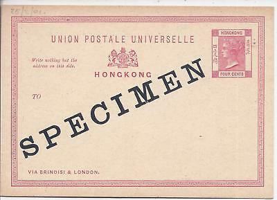 Hong Kong 1901 4c stationery card overprinted Specimen unused