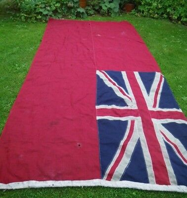 "VERY OLD W.WAR 1/2 ERA VERY LARGE STITCHED LINEN PANEL ROYAL ENSIGN FLAG 106""x50"