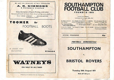 SOUTHAMPTON RESERVES v BRISTOL ROVERS RESERVES 1971/2