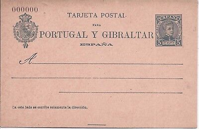 Spain 1903 5c stationery Portugal Y Gibraltar card 000000 number unused