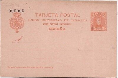 Spain 1904 10c stationery  card 000000 number unused