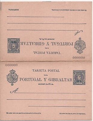 Spain 1903 5c reply stationery Portugal Y Gibraltar card 000000 number unused