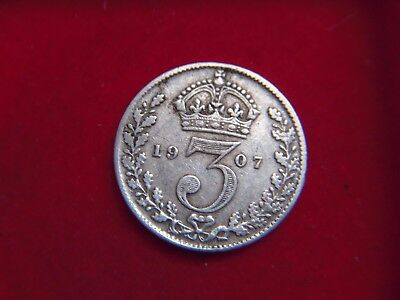 1907 Edward V11 Silver Threepence From My Collection [Z54]
