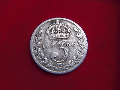 1908 Edward V11 Silver Threepence From My Collection [Z55]