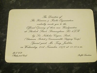 Tony Jacklin Signed Invitation Card - Harrison & Fowler Organisation
