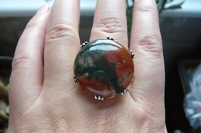 Large Vintage Scottish Moss Agate and Silver Ring