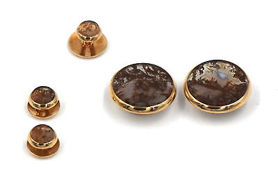 ANTIQUE VICTORIAN HARDSTONE MENS DRESS SET 18K YELLOW GOLD WITH BOX c1867