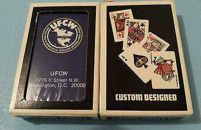 UFCW United Food & Commercial Workers Playing Cards 1980s Blue RARE Vintage