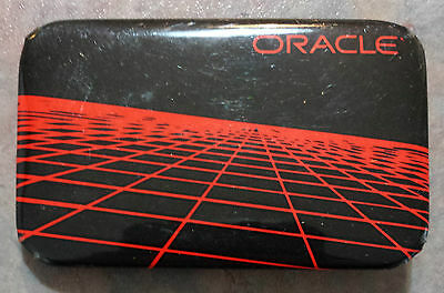 Oracle Computer Information Technology Advertising Pinback Rectangular 1980s