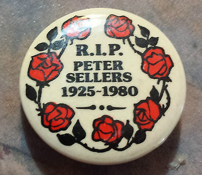 """Peter Sellers R.I.P. 1925-1980 with Roses Pinback 1 1/4"""""""