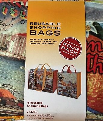 Four 4 Costco Reusable Grocery Travel School Shopping Bags Tote California NEW!!