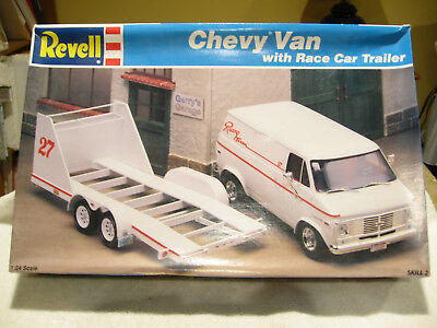 Vintage Revell Chevy Van with Race Car Trailer Model Kit