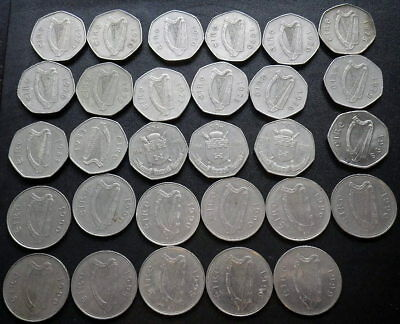 . Ireland 50p's x 18 1970-1998 & One Pounds x 11 1990-1999
