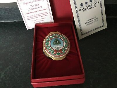 CHRISTMAS 1988 Halcyon Days Enamel Trinket Box. Unique Gift. With Certificate.
