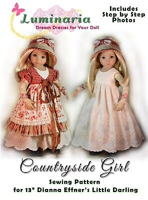 "Little Darling Doll Dress Pattern for 13"" Dianna Effner My Meadow Avery Paola"