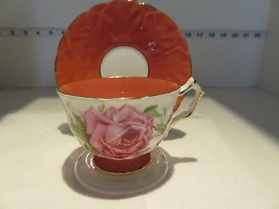 Vtg Aynsley Orange Large Rose Very  Pretty Cup Saucer With Gold Trim