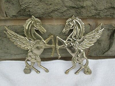 Beautiful Pair Of Vintage/ Antique Brass Pegasus Winged Flying Horses Plaques