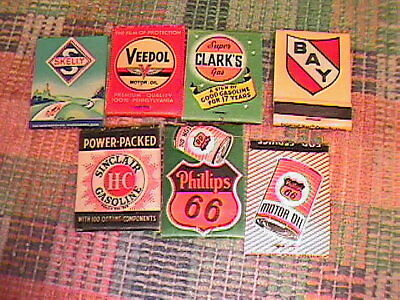 Lot Of  7 Vintage Gas And Oil Service Station Match Book Covers !!