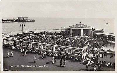 Early Postcard The Bandstand. Worthing. R/P (1937).