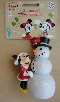BNWT Disney Sketchbook Christmas Ornament Collection - Minnie Mouse & Snowman!