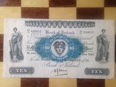 Bank Of Ireland 10 Pounds 1942