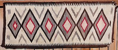 "Navajo Native American Indian Eye Dazzler Runner 65""x 27"" Blanket Rug Weaving"