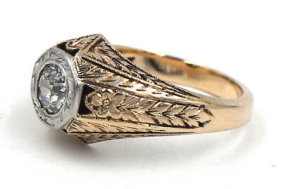 Edwardian Gents Diamond Finely Engraved 14K Yellow Gold Gypsy Ring Size 5
