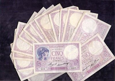 15 Pcs Of 5 Francs Violet From France