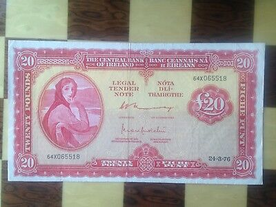 Central Bank Of Ireland 20 Pounds 1976