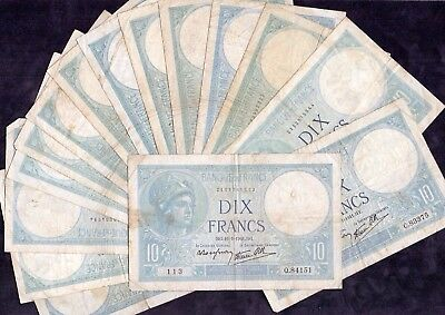 15 Pcs Of 10 Francs bleu From France