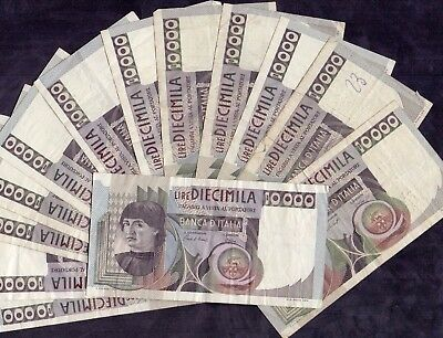 14 Pcs Of 10000 Lire From Italy