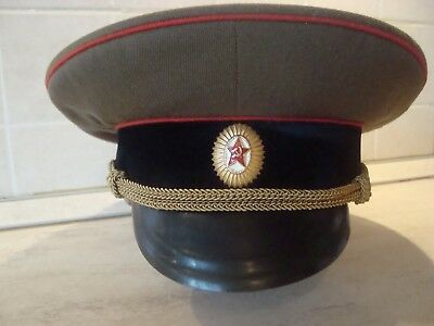 Vintage Soviet Russian Officer's Cap Hat Military Army Green USSR-Size 58(7 1/4)