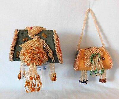 TWO ~ Antique IROQUOIS AMERICAN BEADED WHIMSEY Blue & Sample PURSES with FLOWERS