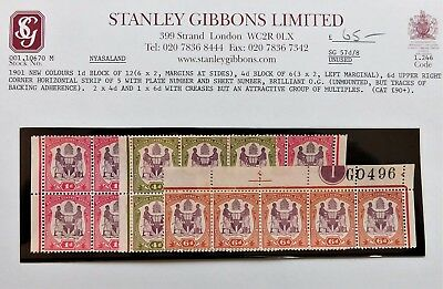 Nyasaland (British Central Africa) 1901 New Colours wth SG Stock Card