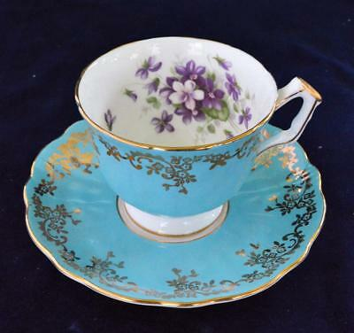 60s AYNSLEY Bone China England Blue Gold Scrolls VIOLETS #2917 Set Cup & Saucer