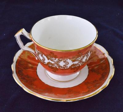 60s AYNSLEY Bone China England Orange Band Gold Scrolls #1215 Set Cup & Saucer