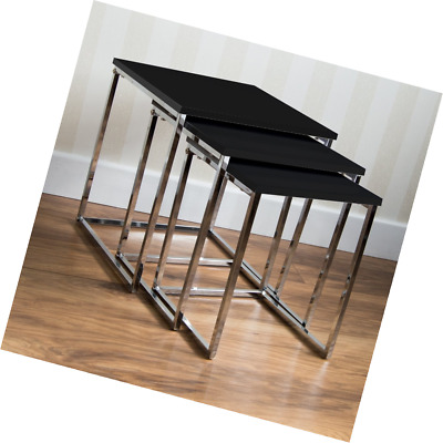 Home Discount High Black Gloss Finish Nest Of Tables Modern Aztec Range