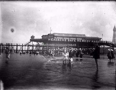 VICTORIAN BLACKPOOL c1900 NORTH PIER ? GLASS PLATE NEGATIVE