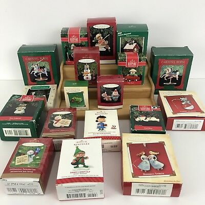 VINTAGE Lot of 18 CHRISTMAS ORNAMENTS HALLMARK mixed lot with Boxes