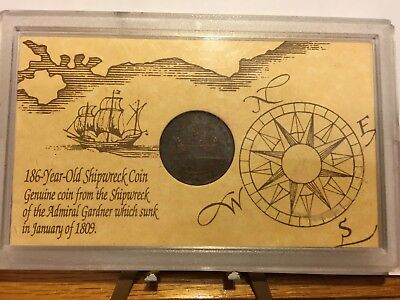 1809 Admiral Gardner Shipwreck East India Co 1808 Cash Coin with C.O.A. NR + FS!