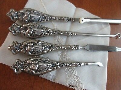 antique,STERLING silver,ALL MATCHING,vanity,hair curler,button hook,manicure pcs