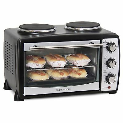 Andrew James Mini Oven And Grill With Double Hot Plates In Black 2900 Watts 2...