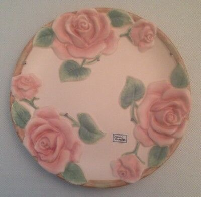 """NEW FITZ & FLOYD Plate Pink """"Blushing Rose"""" Vintage 1987 Pottery NWT NOS"""