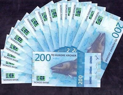 15 Pcs Of 200 Kroner From Norway 2016 Unc
