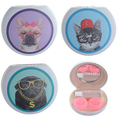 Cute Cat Dog Geek Novelty Contact Lenses Case Ladies Girls Stocking Filler Gift
